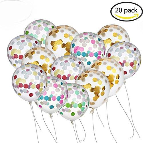 BUWANT Confetti Balloons 20 pièces 12 pouces pour les décorations de fête, 10 pièces en or et 10 pièces colorées