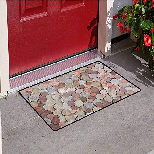 Gloria Johnson Money Welcome Door mat Close Up Photo of Coins European Union Euros Cents on Rustic Wooden Board Door mat is odorless and Durable W29.5 x L39.4 Inch Bronze Silver Yellow