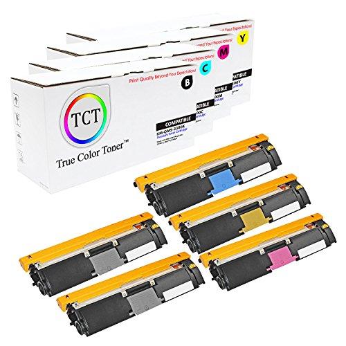 TCT Premium Compatible Toner Cartridge Replacement for QMS 2300 Konica Minolta Magicolor 2300DL 2300W 2350EN Printers (Black, Cyan, Magenta, Yellow) - 5 Pack ()