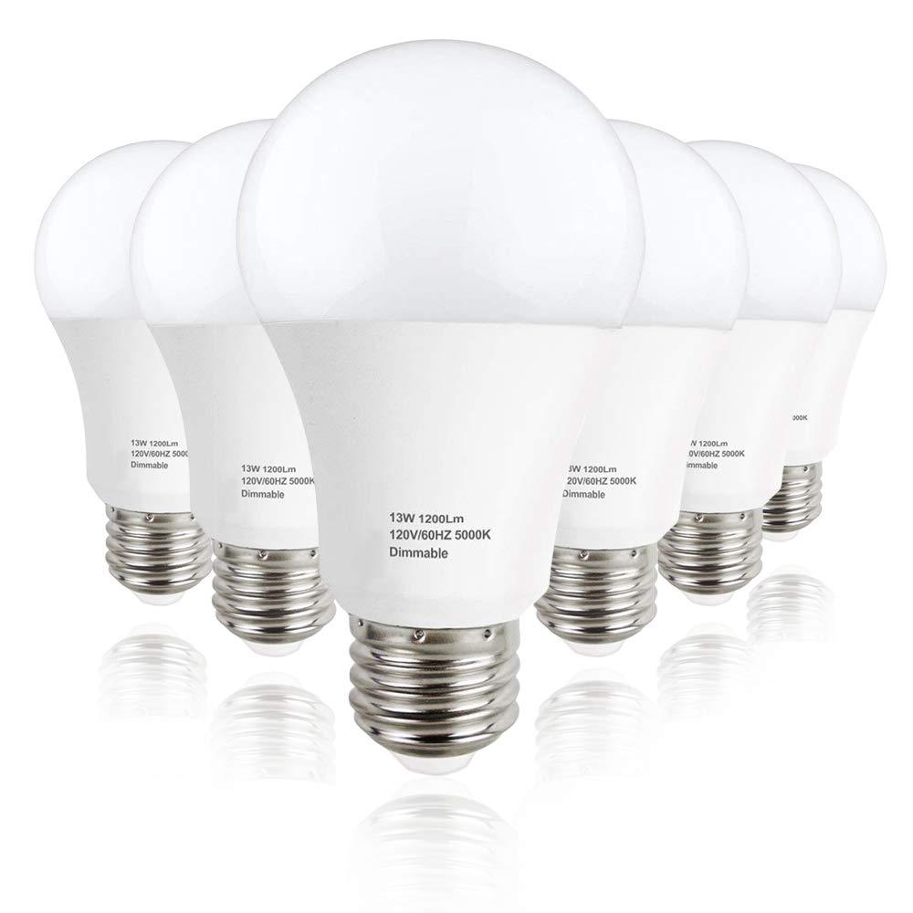 Lakes A19 LED Bulb Dimmable, E26 Base Light Bulb 13W (100W Equivalent), 1200 Lumens, 270° Beam Angle, 5000K Daylight White, 6-Pack
