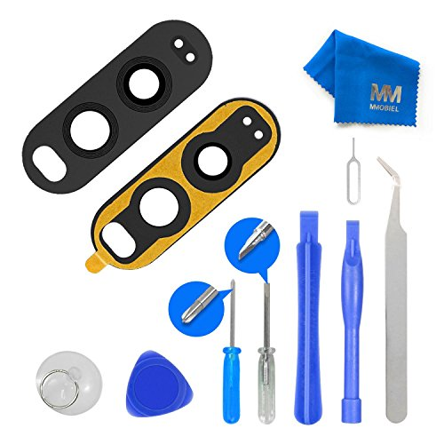 MMOBIELBack Rear Camera Real Glass Lens Replacement Complet Set + Pre-installed 3M Adhesive + FullToolkit incl. Tweezers for LG V20 F800L H910 H918 LS997 US996 VS995 H990 Black