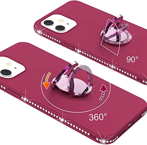 Henpone iPhone 12 Pro Max Phone Case with Ring Holder for Women/Girl Bling Diamond Bumper Cute Silicone Shockproof Cases Purple