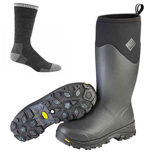 Muck Boot Mens Arktiska Isen Sport Arbete Boot Black W / Strumpor