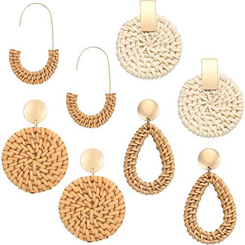 Handmade Rattan Earrings for Girl Wicker Straw Stud Earrings Weave Drop Dangle Statement Earring Summer Beach Jewelry(4 Pairs)