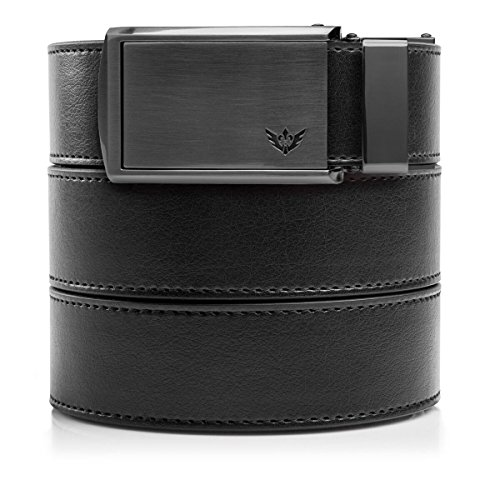 "SlideBelts Men's Vegan Leather Belt without Holes - Winged Gunmetal Buckle/Black Leather (Trim-to-fit: Up to 48"" Waist)"