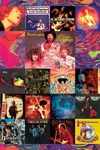 GB Eye Limited Jimi Hendrix Album Covers Collage Psychedelic Classic Rock Music Poster 24x36 Inch