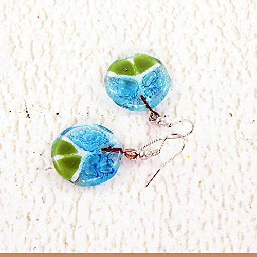 Blue and Green Fused Glass Earrings with Peace Sign