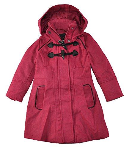 Yoki Little Girls Toddler Single-Breasted Hooded Faux Wool Long Pea Coat (2T, Fuchsia)