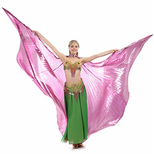 iMucci 140CM With Stick 360 Degree Egypt Indian Belly Dance Wing Fan Bellydance Isis Wings (Adult (Pink Indian Sari Adult Costume)