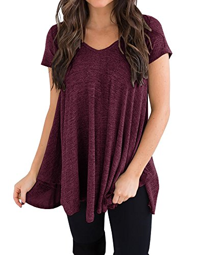 ck Pleated Swing T Shirt Casual Short Sleeve Loose Fit Tunic Tops ()