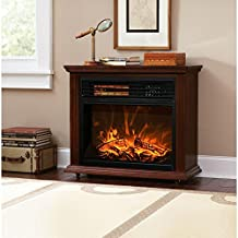 XtremepowerUS Infrared Quartz Electric Fireplace Heater Walnut Finish with Remote Controller