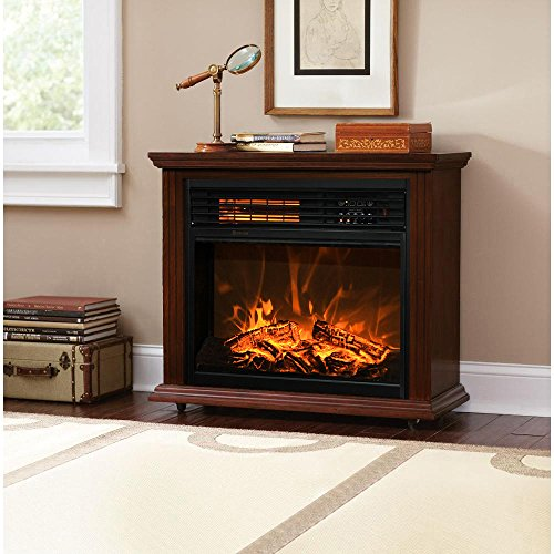 XtremepowerUS Infrared Quartz Electric Fireplace Heater Finish with Remote Controller (Walnut)