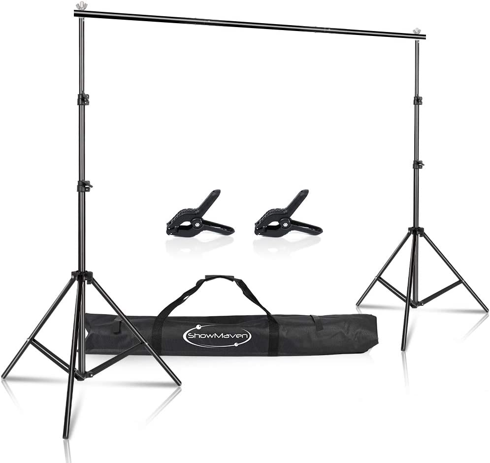 ShowMaven Background Stand, 6.4ft Height x 10ft Wide Adjustable Photo Backdrop Stand with Carry Bag for Photography Photo Video Studio, Photography Studio, Birthday Party (6.4ftx10ft)