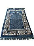 Islamic Luxury Velvet Islamic Prayer Rug Janamaz Sajjadah Muslim Namaz Seccade Turkish Prayer Rug (Turquise)