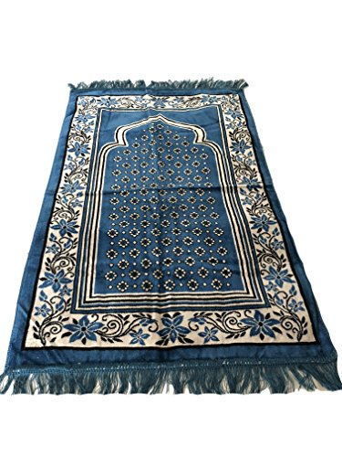 Islamic Luxury Velvet Islamic Prayer Rug Janamaz Sajjadah Muslim Namaz Seccade Turkish Prayer Rug (Turquise) by Sparkle Trade