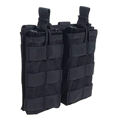 Loglife Tactical Magazine Pouch 5.56 M4/M16 Holds Holster Double Pistol Mag Pouch Stacker Open Top 1000d for Molle Vest with Bungee System (BK