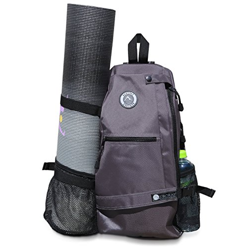 Aurorae Yoga Multi Purpose Cross-body Sling Back Pack Bag. Mat sold separately. Grey Solid
