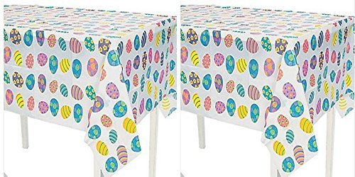 Easter Egg Table Covers, Set of 2 - Disposable Plastic Tablecloths