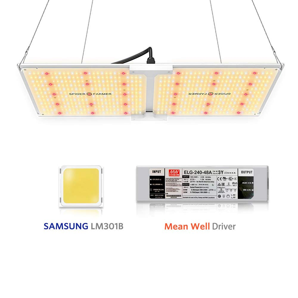 Spider Farmer SF-2000 LED Grow Light with Samsung Chips LM301B & Dimmable MeanWell Driver Commercial White Grow Lights for Indoor Plants Full Spectrum for Greenhouse Hydroponic Veg Flower 606pcs LEDs