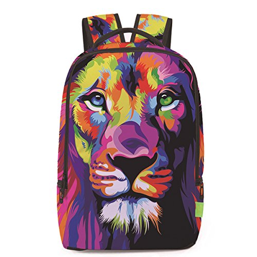 (Ibeauti Unisex School Backpack, Large Capacity 3D Vivid Animal Face Print Backpack Back to School Bag Backpack (Colorful Lion) )