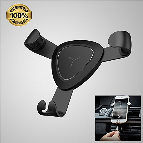 SPACE Vehicle-Mounted Mobile Phone Bracket Gravity Vent Creative Automobile Navigation Support for iPhone and Android Cell Phones Other Smartphones GPS (Black)