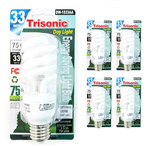 4Pc 75 W CFL Fluorescent Light Bulbs Compact 33 Watts Daylig