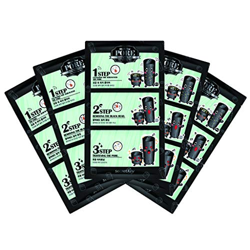 SECRET KEY Blackhead Out Pore 3-Step Nose Pack 5 Pack - Sebum Cleansing, Removing Blackheads, Thightening Pore Care, Pore Soothing & Purifying Mask ()