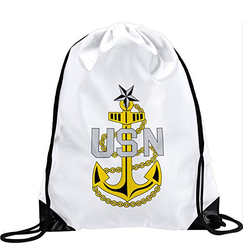 Large Drawstring Bag with US Navy Senior Chief Petty Officer, rank ins (collar) – Long lasting vibrant image For Sale