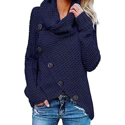 POQOQ Tops Blouse Shirt Women Button Long Sleeve Sweater Sweatshirt Pullover XXL Navy