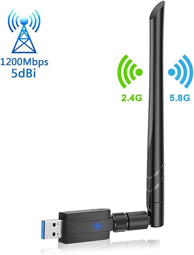 synmixx Adaptador WiFi USB 3.0 1200Mbps Receptor WiF Dongle Inalámbrico Dual Band 2,4G / 5GHz Antena WiFi 5dBi para PC Desktop Laptop Computadora ...