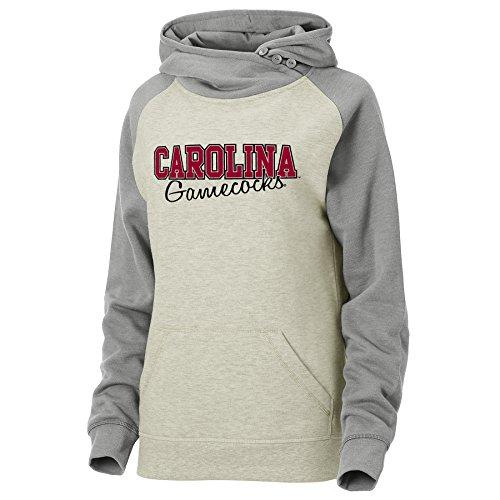 White South Carolina Sweatshirt - Ouray Sportswear NCAA South Carolina Fighting Gamecocks Women's Asym Redux Hoodie, Oatmeal/Premium Heather, Medium