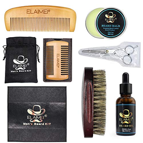 YunZyun Men's Beard Fluid+Beard Wax+Comb+Brush+Scissors Strength Nourish Combination, Improve The Development of Symptoms,So That Hair Becomes Variable and Longer (Multicolor)