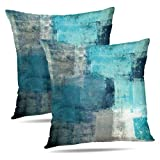 turquoise throw pillow  Set of 2 Turquoise and Grey Art Artwork Contemporary Decorative Gray Home Decorative Throw Pillows Cushion Cover for Bedroom Sofa Living Room 18X18 Inches