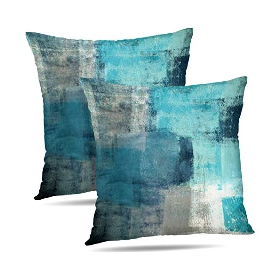 Alricc Set of 2 Turquoise and Grey Art Artwork Contemporary Decorative Gray Home Decorative Throw Pillows Covers Cushion Cover for Bedroom Sofa Living Room 18X18 Inches - Material: cotton and polyester blend, Teal pillow covers are Comfortable,Soft Touch, Light Weight Durable, Grade A, High Class. Size: Grey throw pillow covers 18X18 Inches(set of 2).1PC * Pillow case, insert are not included (NO Pillow) Design :Our turquoise pillow cover is made by high quality cotton and it is very healthy, breathable lightweight fabric, which is gentle to the touch. Suited for all seasons use, breathable for hot summer while warm for cold winter. - patio, outdoor-throw-pillows, outdoor-decor - 51xnW4e77ZL. SS570  -