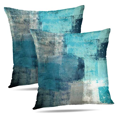 Set of 2 Turquoise and Grey Art Artwork Contemporary Decorative Gray Home Decorative Throw Pillows Cushion Cover for Bedroom Sofa Living Room 18X18 Inches