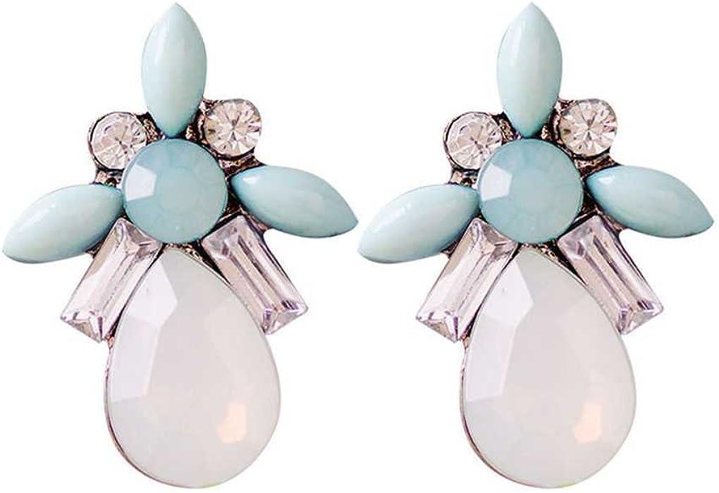 1 cristal de color caramelo encantador Par Aretes chica sencilla partido de tarde de las mujeres pendientes de la boda