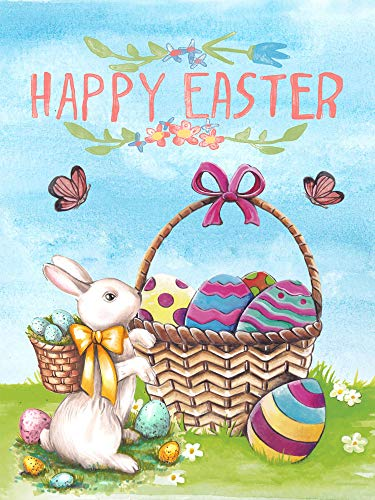 Wamika Happy Easter Eggs Basket Bunny Garden Flag 12 x 18 Double Sided, Spring Flowers Butterfly Yard House Flags Welcome Outdoor Indoor Banner for Party Holiday Home Decorations