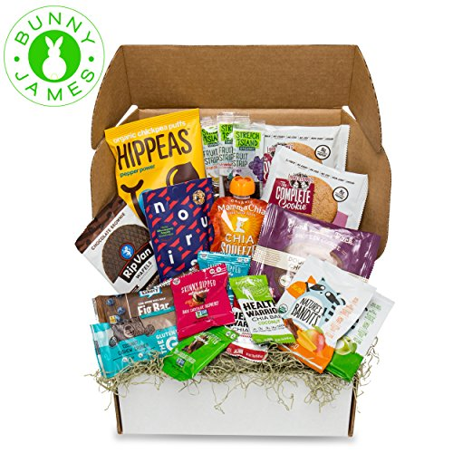 Bunny James Easter Gift Basket: Mix of Natural, Organic, Healthy Snacks & Easter Treats Gift Box