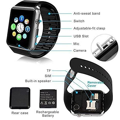 T3S® Bluetooth A1 Smart Watch Compatible with All 3G 4G...