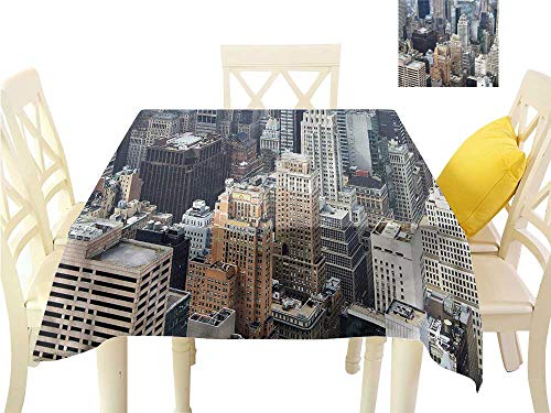 Davishouse Elegance Engineered Tablecloth Aerial View American Town Washable Polyester - Great for Buffet Table, Parties, Holiday Dinner, Wedding & More W50 x L50