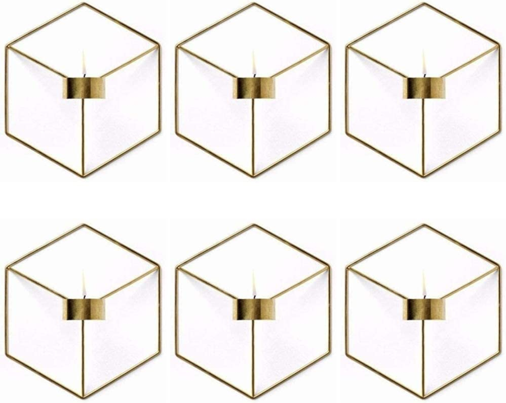 6 Pcs Nordic Style 3D Metal Geometric Wall Hanging Tealight Candle Holder Sconce Home Decor Living Room Wedding Coffee Bar Wall Decoration (Gold)