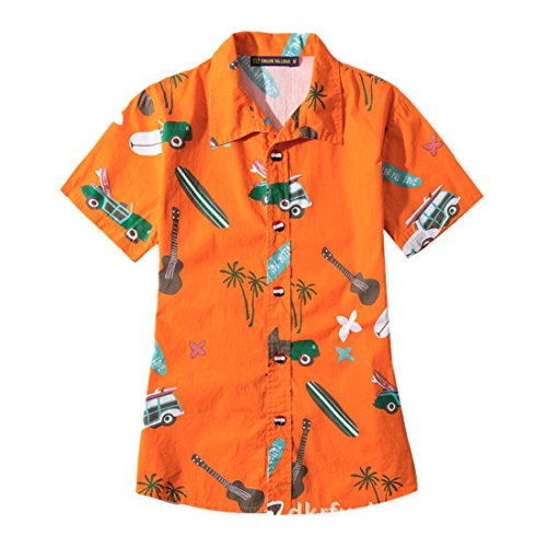 xs Courtes Chemises Homme Hawii Style À Grande Orange 5xl Manches Féminin Imprimé Chemise Coco De Ai moichien Taille Noix Plage Boutonnées 1aqzII