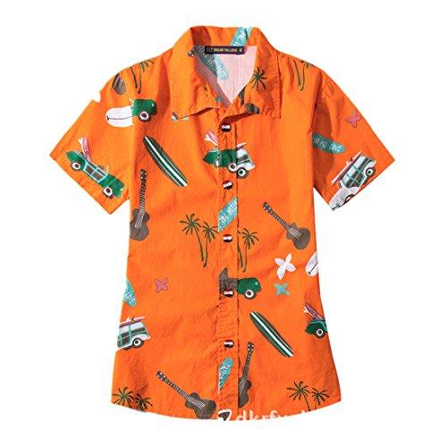 botones corta Camisa Impresos Tama XS Estilo moichien Manga o 5XL Camisas grande Hombre hembra Coconut Naranja Ai Beach con Hawii xP4nWFx