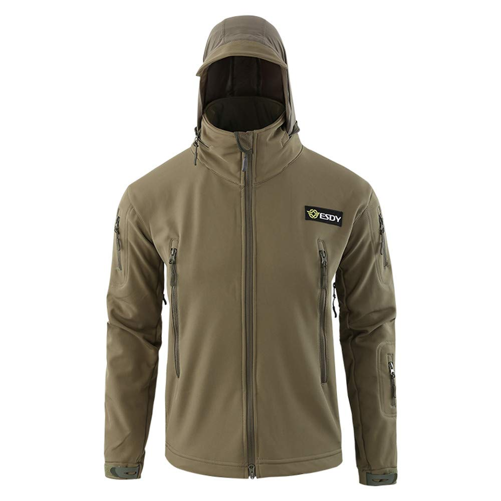 Men's Windproof Warm Outdoor Fashion Coat Hooded Jacket Sports Uniform Velvet Overalls (Green, S)