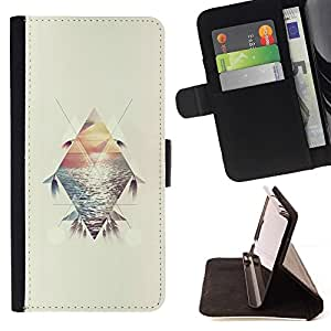 For HTC One A9 Case , Polígono Sunset Summer Sea Surf pluma- la tarjeta de Crédito Slots PU Funda de cuero Monedero caso cubierta de piel