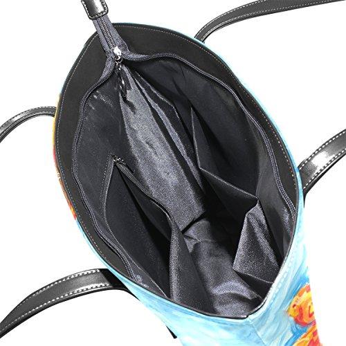 Le Muticolour Per Tracolla Borse A Medio Bag E Tote Pittura Cuoio Girasoli Coosun Borsa Della Donne 7qwpSqAH