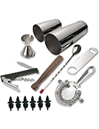 Gain 14-piece Stainless Steel Bar Set and Cocktail Making Set Includes Bar Tools and Accessories (14 Piece Set) occupation