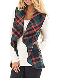 Women Plaid Color Casual Lapel Sleeveless Asymetric Hem Vests Open Front Plaid Blanket Cardigans