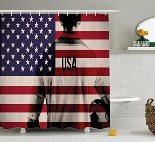 (Ambesonne Sports Decor Shower Curtain Set, Composite Double Exposure Image of A Soccer Player and American Flag National Usa Run, Bathroom Accessories, 84 Inches Extralong, Beige Blue Red)