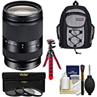 Sony Alpha E-Mount E 18-200mm f/3.5-6.3 LE OSS Zoom Lens with Backpack + 3 Filters + Tripod Kit for A7, A7R, A7S Mark II, A5100, A6000, A6300 Cameras